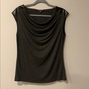 Cable & Gauge sleeveless Top w/ Faux Leather Sz L